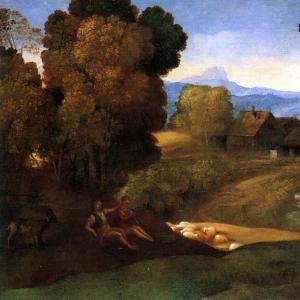 Нимфы и дети на фоне пейзажа с пастухами
