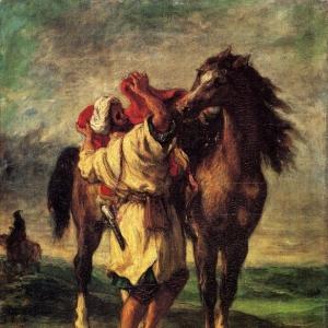 Эжен Делакруа - Марокканец, седлающий коня