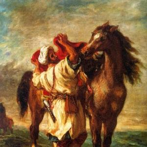 Эжен Делакруа - Марокканец, седлающий лошадь