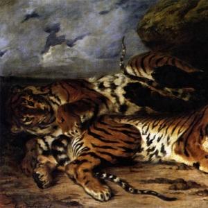 Эжен Делакруа - Молодая тигрица со своей матерью