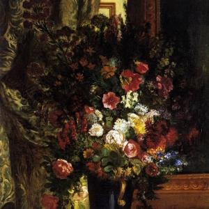 Эжен Делакруа - Ваза с цветами на пристенном столике