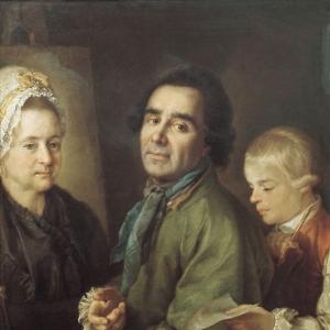 Портрет А.П. Антропова с сыном перед портретом жены Елены Васильевны