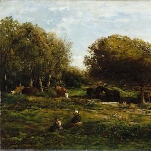 Шарль Франсуа Добиньи - Пастбище в Виллервиль