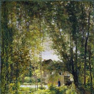Шарль Франсуа Добиньи - Пейзаж с ручьем в солнечный день