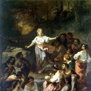 Нарсис Виржиль Диаз де ла Пенья - Цыгане, слушающие предсказания молодой гадалки