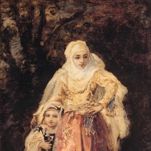 Нарсис Виржиль Диаз де ла Пенья - Восточная женщина со своей дочерью
