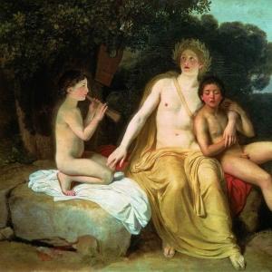 Аполлон, Гиацинт и Кипарис, занимающийся музыкой и пением.