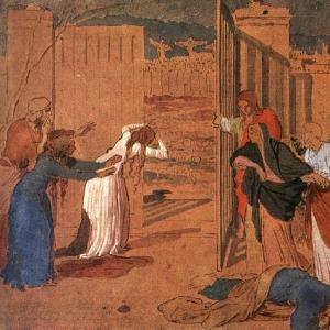 огоматерь, ученики Христа и женщины, следующие за Ним, смотрят издали на распятие