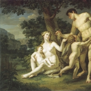 Адам и Ева с детьми под деревом