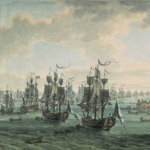 Российская эскадра под командованием Ф.Ф. Ушакова, идущая Константинопольским проливом