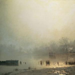 Туман. Красный пруд