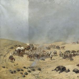 Хивинский поход 1873 года. Переход Туркестанского отряда через мёртвые пески к колодцам Адам-Крыл.