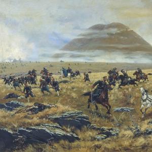 Нижегородские драгуны, преследующие турок по дороге к Карсу во время Аладжинского сражения