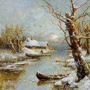 Клевер Юлий - Зимний речной пейзаж