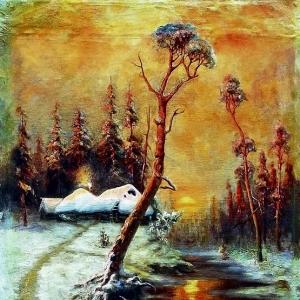 Клевер Юлий - Зимний пейзаж с соснами