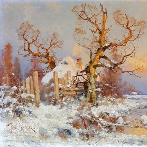 Клевер Юлий - Зимний пейзаж в лучах вечернего солнца