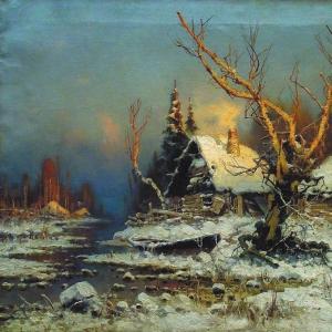 Зимний пейзаж с избушкой