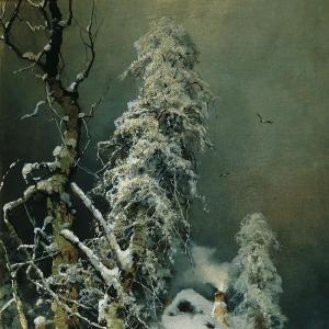 Зимний пейзаж с избушкой (2)