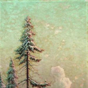 Зимний пейзаж с избами у реки