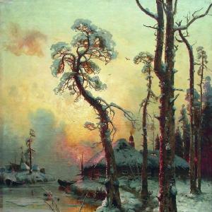 Зимний пейзаж с рекой и домами
