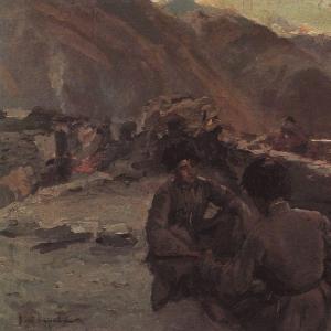 На Кавказе. Сидящие горцы