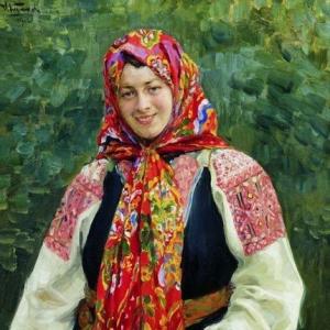 Куликов Иван - Девушка с туесом. 1912