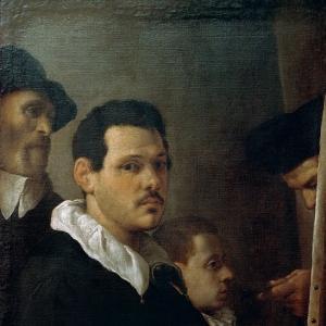 Караччи Аннибале - Автопортрет с тремя фигурами
