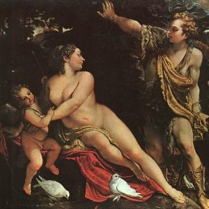 Караччи Аннибале - Венера, Адонис и Амур