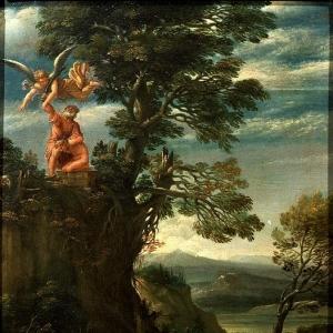 Караччи Аннибале - Пейзаж со сценой принесения в жертву Исаака