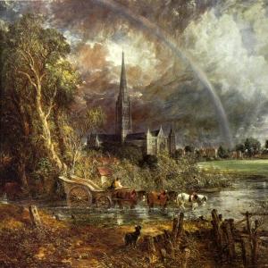 Джон Констебл - Вид на кафедральный собор Солсбери с луга, 1831