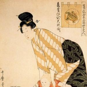 Китагава Утамаро - Хлопок с цветочным узором