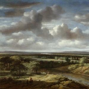 Конинк Филипс - Панорамный пейзаж с рекой вдали, 1676