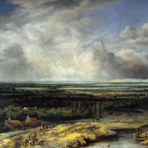 Конинк Филипс - Панорамный пейзаж с соколиной охотой