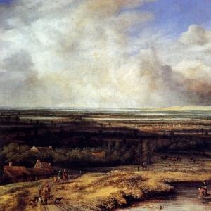 Конинк Филипс - Соколиная охота на фоне пейзажа
