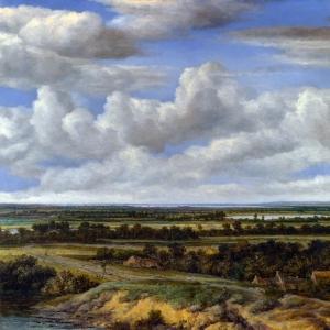 Конинк Филипс - Панорамный пейзаж с дорогой у реки