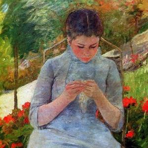 Кассат Мэри - Женщина за шитьем