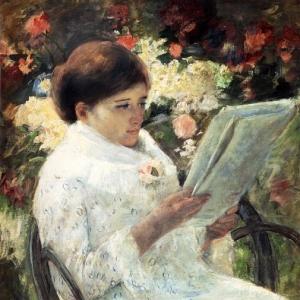 Кассат Мэри - Женщина, читающая в саду