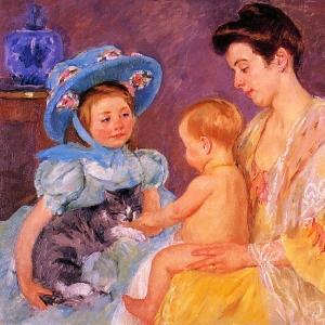 Кассат Мэри - Дети, играющие с кошкой