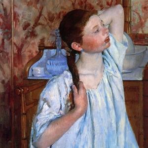 Кассат Мэри - Девушка, приводящая в порядок прическу