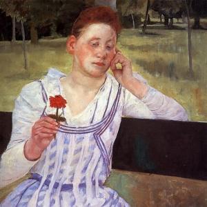 Кассат Мэри - Задумчивость или Женщина с красной циннией