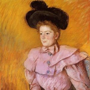 Кассат Мэри - Женщина в черной шляпе и малиновом костюме