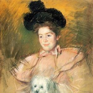 Кассат Мэри - Женщина в малиновом костюме с собачкой в руках