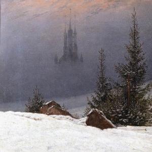 Каспар Давид Фридрих - Зимний пейзаж с церковью