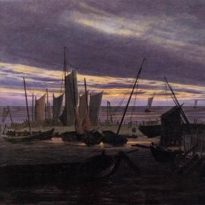 Каспар Давид Фридрих - Лодки в гавани вечером