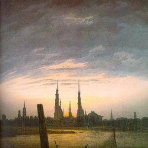 Каспар Давид Фридрих - Город в свете восходящей луны