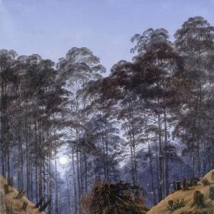 Каспар Давид Фридрих - Лес в лунном свете с людьми у костра