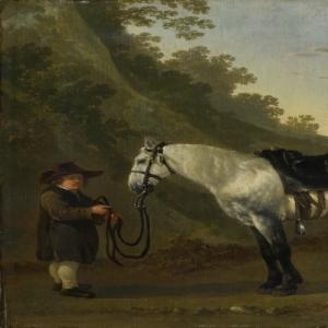 Абрахам ван Калрает - Мальчик держит серую лошадь