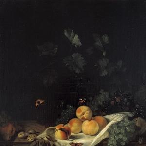 Абрахам ван Калрает - Натюрморт с персиками и виноградом