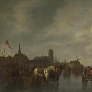 Абрахам ван Калрает - Сцена на льду вне Дордрехт