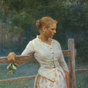 Девочка у изгороди